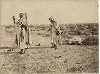 La Preghiera Sahara Algerino Orientalismo Albumina Vintage Albume D'Uovo Ca