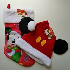 """Santa Claus Hat Mickey Mouse Ears & Stocking 16"""" Cap One Size Disney Christmas"""