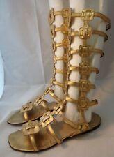 CHRISTIAN LOUBOUTIN 38.5 Metallic Gold Desert Flat Gladiator Sandals $1895