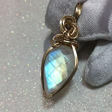 Rainbow Moonstone Pendant - AAAA - 14k gold fill -  w/ necklace 16ct  (1622g4)