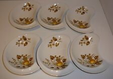 Crescent Shaped Dishes Autumn Leaves Flowers Set of six made in England