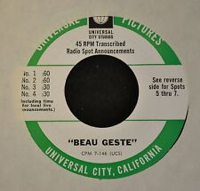 RARE RADIO SPOTS RECORD Beau Geste Universal Pictures 146 Leslie Nielson