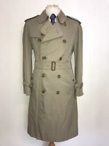 BURBERRY - Mens Vintage BEIGE COTTON TRENCHCOAT - 38-40 Short - LOVELY RAIN COAT