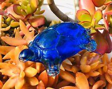 Antique Blue Glass Art Turtle