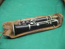 19th Century Black Clarinet Music Instrument in Original Leather Bag