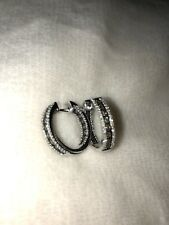 ".80 CTW Champagne Brown Diamond Hoop Earrings 3/4"" - Sterling Silver .925 NEW!"