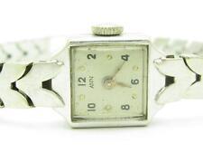 Vintage ANN 14k White Gold Wind Up Estate Women's Rectangular Watch Solid Gold