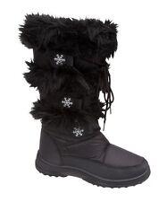 NEW LADIES WOMENS GIRLS SNOW WINTER RAIN FUR SKI BOOTS SIZES 2 3 4 5 6
