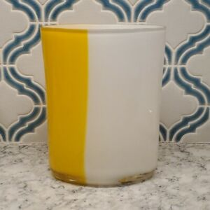 """Crate and Barrel 8"""" Seaside Yellow White Glass Vase Made in Poland"""