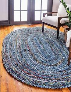Rug Hand Braided Natural Cotton & Denim Oval Hemp Modern Living Decor Carpet Rug