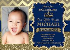 Prince, Royal, King, Blue, Gold, First Birthday, One, Birthday Party Invitation