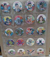 Complete Set of DC SkyCaps in Pages Pogs Superman Batman Wonder Woman Flash JLA