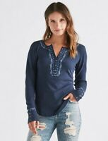 Lucky Brand Blue Embroidered Floral Henley Thermal Long Sleeve Shirt Women's Xs