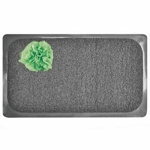 mDesign Loofah Cushioned Suction Bath Mat for Shower Stall, Bathtub - Gray