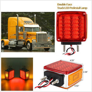 Pair 36+3 LED Square Dual Face Stud Mount Amber/Red Brake/Turn Signal/Tail Light