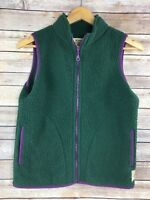 Life Is Good Vest XS Womens Sherpa Green Full Zip Relaxed Fit Purple Trim
