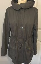 NEW LOOK Long Sleeve Grey Hooded Zipped Cotton Coat/Jacket Pockets UK12 / EU40