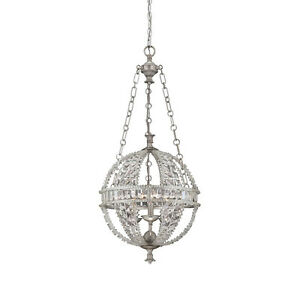 Savoy House 7-9130-3-332 Pendant with Clear Shades, Heirloom Silver Finish
