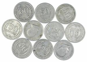 Lot of 10 El Salvador 1953 50 Centavos Silver Coin Lot -Rare one Year Issue *445