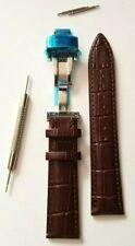 Bracelet Montre Cuir Marron à Boucle Déployante Papillon. Neuf. 20 mm