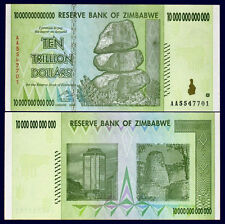 Zimbabwe 10 Trillion Dollars 2008 Banknote Uncirculated AA+ 100 Trillion Series