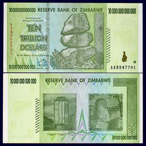 Zimbabwe 10 Trillion Dollars 2008 Banknote Uncirculated AA+ 100 Trillion Series