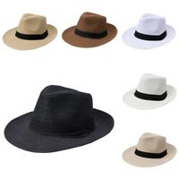 Men Women Summer Big Brim Panama Hat Fedora Cap Beach Sun Hat Flat Brim Outdoor