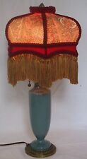 VINTAGE ELECTRIC PORCELAIN TABLE LAMP w/RECOVERED PAISLEY SHADE w/GOLD FRINGE