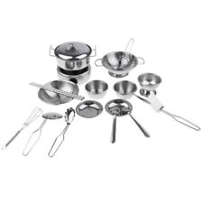 18pcs Real Cooking Stainless Steel Cookware Bowl Spoon Set Kid Role Play Toy