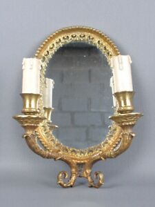 Vintage Mirror Venetian Oval Bronze Golden With Lamps Xx Century