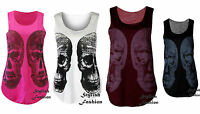 HALLOWEEN Womens Skull Printed Vest Ladies T-Shirt Graphic Vest Top UK 8-14