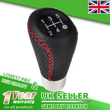 Universal Manual Car Gear Stick Shift Knob Shifter 5 Speed / Red Stitche Leather