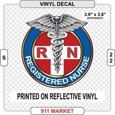 RN Reflective Decal Registered Nurse Nursing Outdoor Car Sticker Caduceus - S 22