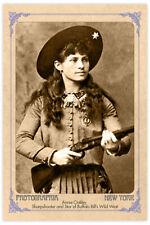 ANNIE OAKLEY Old West Sharpshooter Legend Vintage Photograph Cabinet Card RP