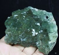 408g Natural beauty rare translucent green cube fluorite mineral specimen/China