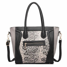 Zip Snakeskin Shoulder Bags with Outer Pockets