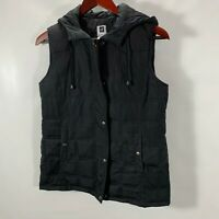 GAP Quilted Puffer Vest Jacket Black Zip and Snap Hooded Size S Small