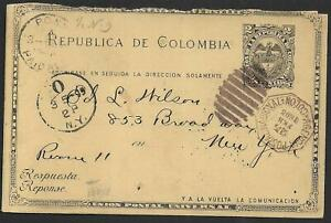 Colombia stamps 1894 Postal stationery COLON to New York