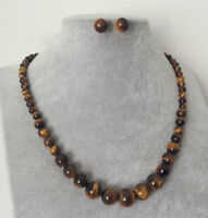 6-14mm Natural Yellow Tiger's Eye Gemstone Beads Necklace 925 silver Earring Set