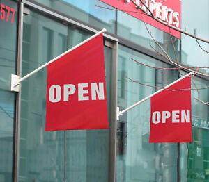 2 X Wall OPEN Flags / End Sign Flags / Wall Mounted Sign Flag Banners