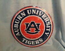 "Auburn University 12"" Round Metal Auburn Tigers War Eagle Man Cave Sign"