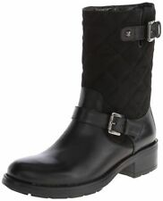 AQUATALIA Boots 8.5 SHERRY Mid-Calf Moto Leather Suede Quilted Buckle Pull-On