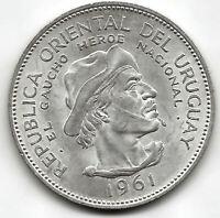 Uruguay 10 Pesos  1961 Plata El Gaucho @ Sin Circular @