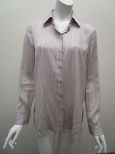 THE ROW Made in USA Hidden Button Placket Silk Striped Pajama Blouse Size M