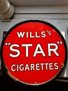 Double Sided Wills STAR Cigarettes Advertising Sign 100% original ENAMEL