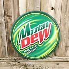 """Mountain Dew Do The Dew Logo Pop Soda Round 12"""" Green Metal Tin Sign Bar Kitchen"""
