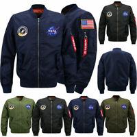 Men Military Pilot Jacket NASA MA1 Flight Bomber Coat Baseball Outwear Jackets