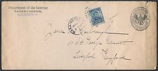 #304 Wash.,Dc To England 1906 Dept Of Interior Penalty Cover Some Tear Br9948