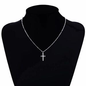 Damen Silber Halskette Kreuz Jesus Cross Anhänger Kreuzkette Silberkette 40+5 cm