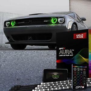 OPT7 Aura DRL Halo Light Kit 08-20 Dodge Challenger 16+ Smart-Color Angel Eye